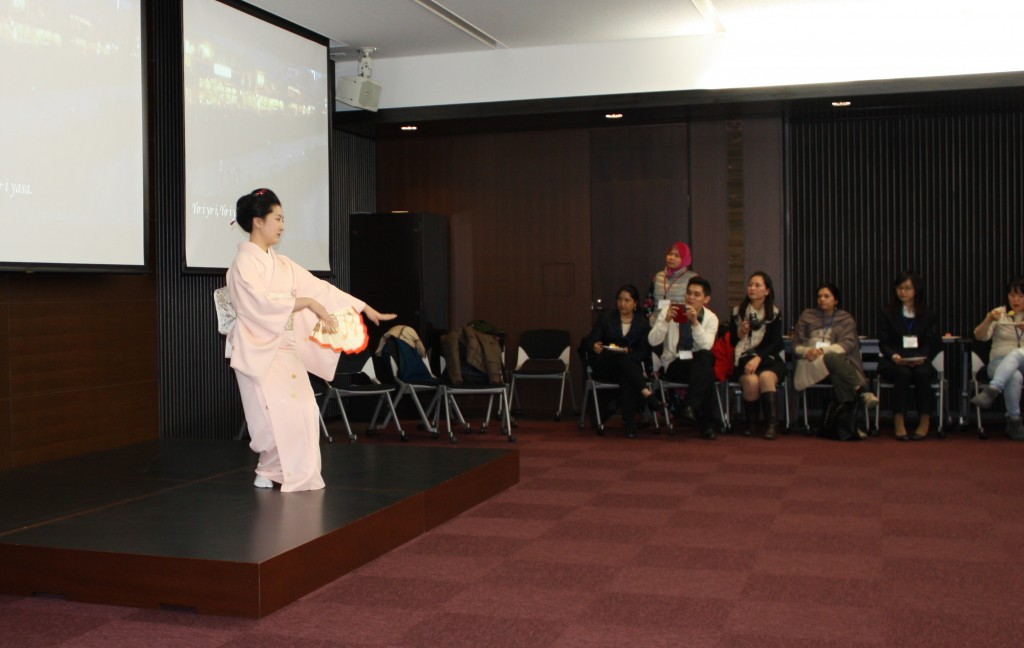 Japanese Culture such as Classical Japanese dance was introduced to participants from abroad.
